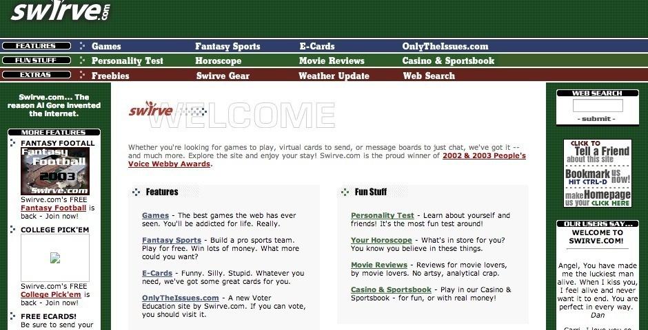 2003 Webby Winner - Swirve