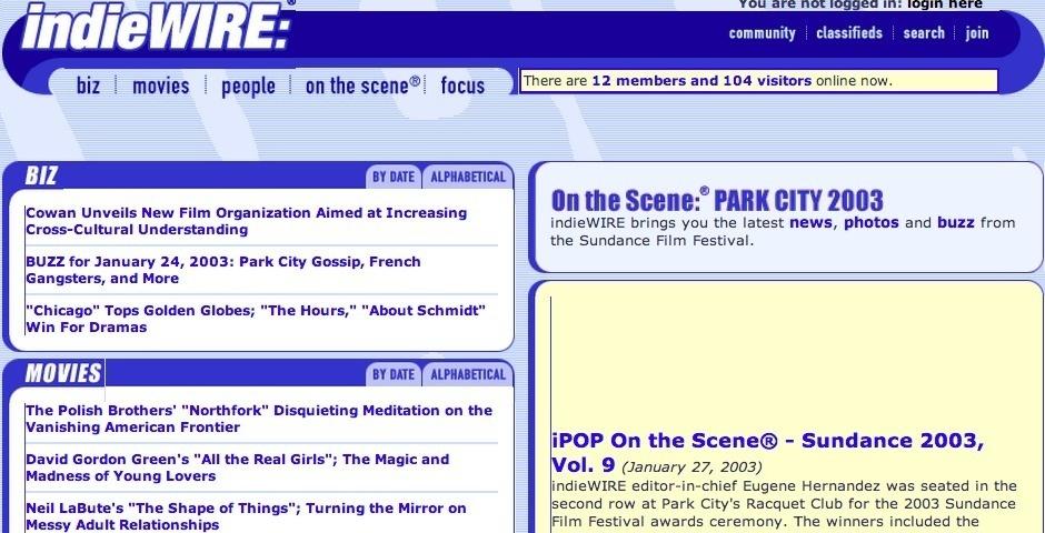 2003 Webby Winner - indieWIRE