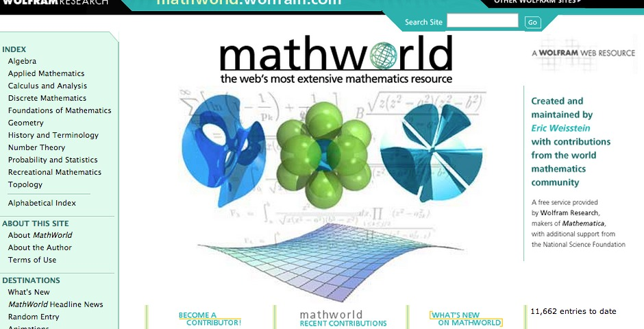 Nominee - Eric Weisstein's World of Mathematics