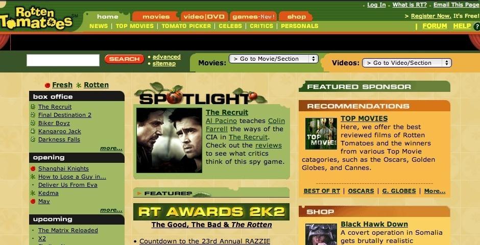 2003 Webby Winner - Rotten Tomatoes