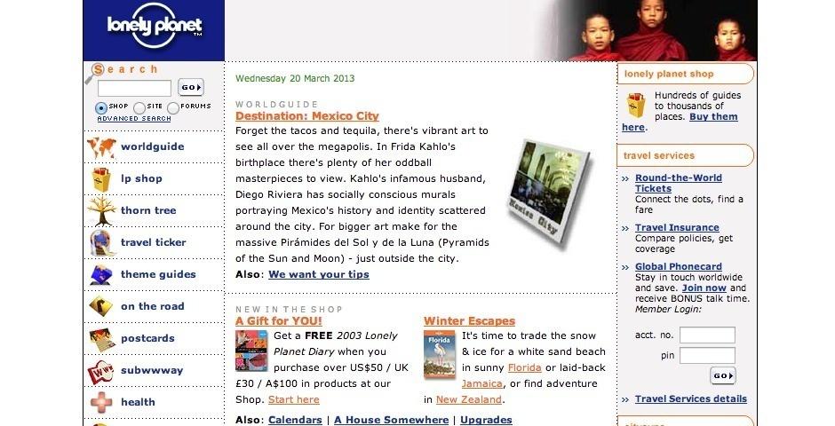 2003 Webby Winner - Lonely Planet Online