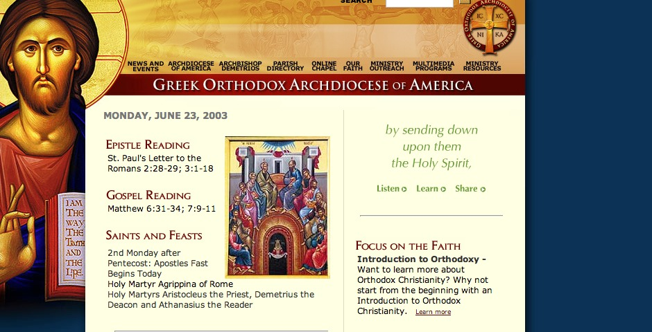 Greek Orthodox Archdiocese of America -- The Webby Awards