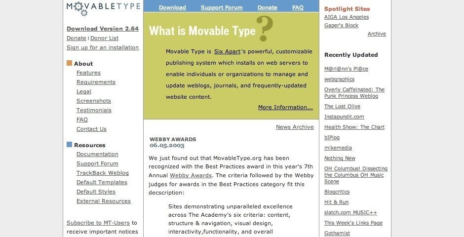 2003 Webby Winner - Movable Type