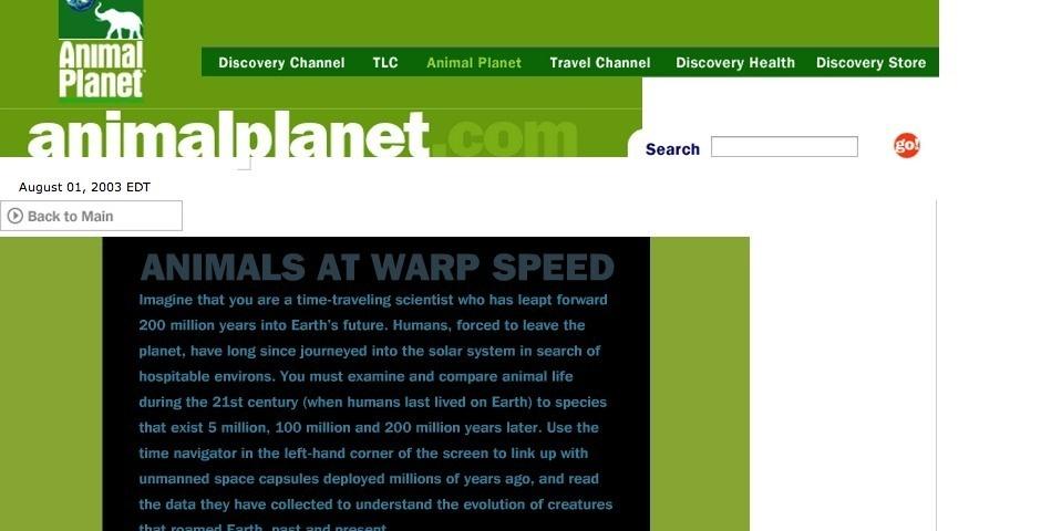 Webby Award Nominee - Animal Planet: Future is Wild Interactive