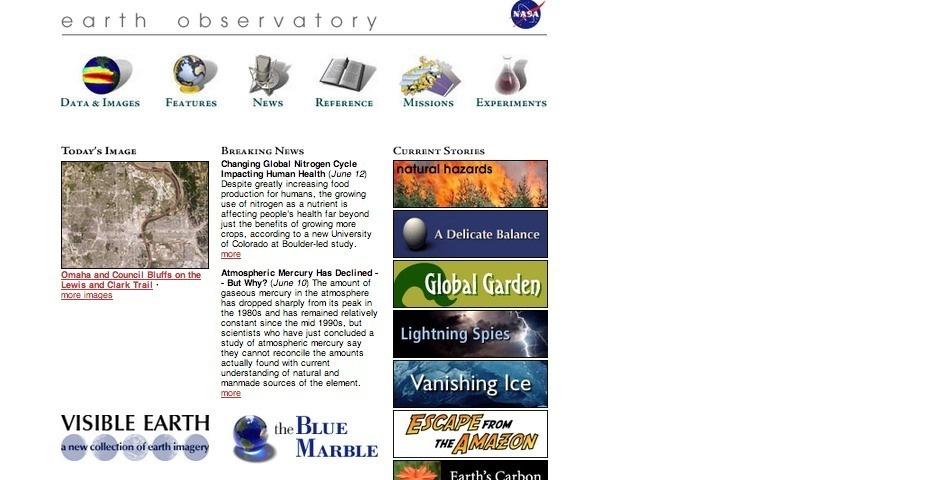 2003 Webby Winner - NASA Earth Observatory