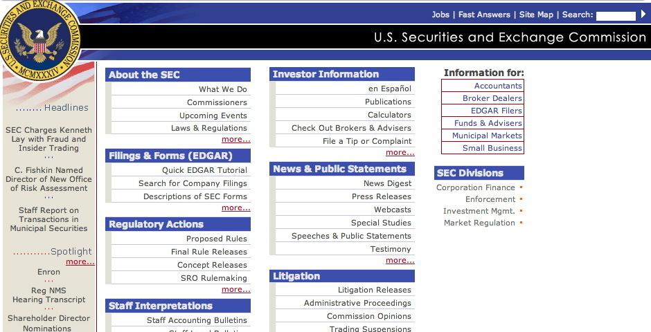 2004 Webby Winner - U.S. Securities and Exchange Commission