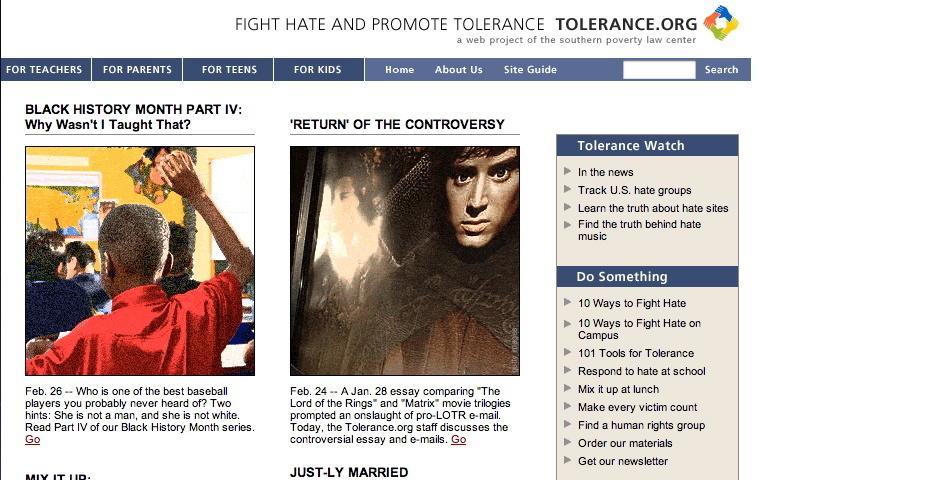 2004 Webby Winner - Tolerance.org