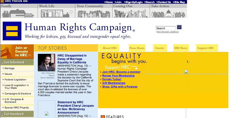 2004 Webby Winner - Human Rights Campaign