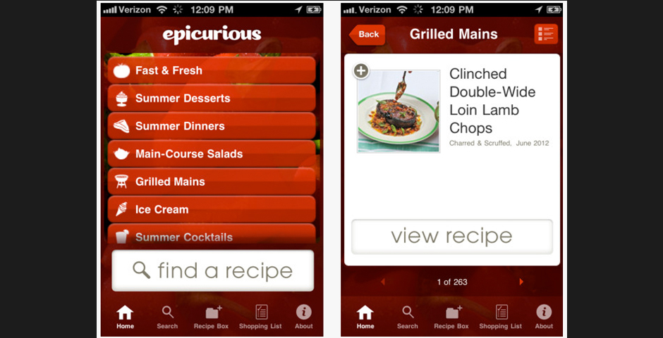 Nominee - Epicurious Recipes and Shopping List Mobile Application