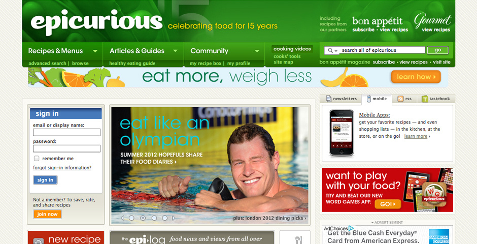 2011 Webby Winner - Epicurious