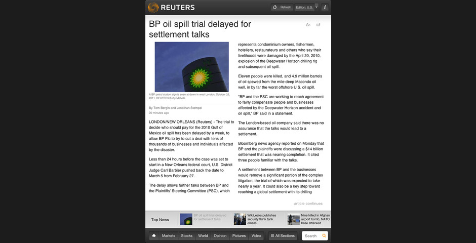 Nominee - Reuters News Pro for iPad