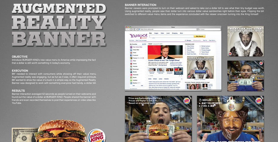Webby Award Nominee - BK Augmented Reality Banner