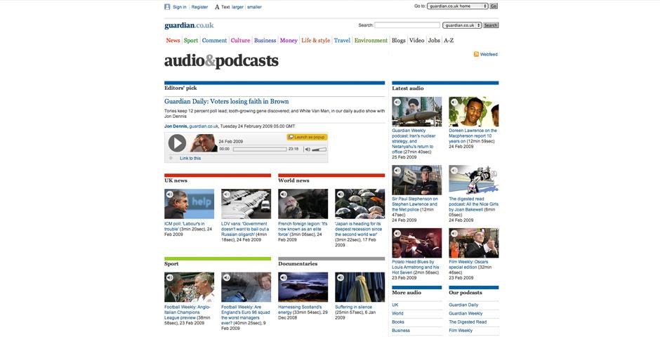 2009 Webby Winner - guardian.co.uk podcasts