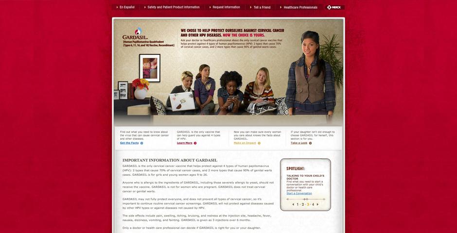 Webby Award Nominee - Gardasil.com