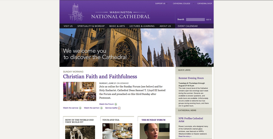Nominee - The Washington National Cathedral Web Site