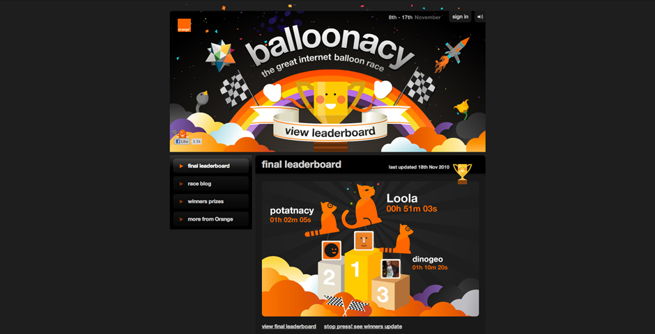 Webby Award Winner - Orange 'Balloonacy'