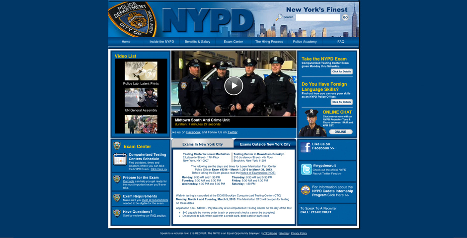 Webby Award Nominee - NYPD Career Site