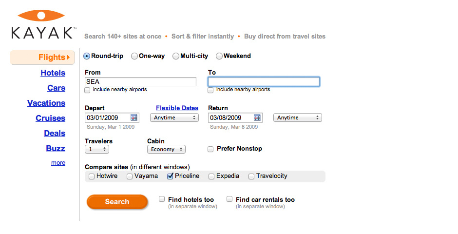 2009 Webby Winner - Kayak.com