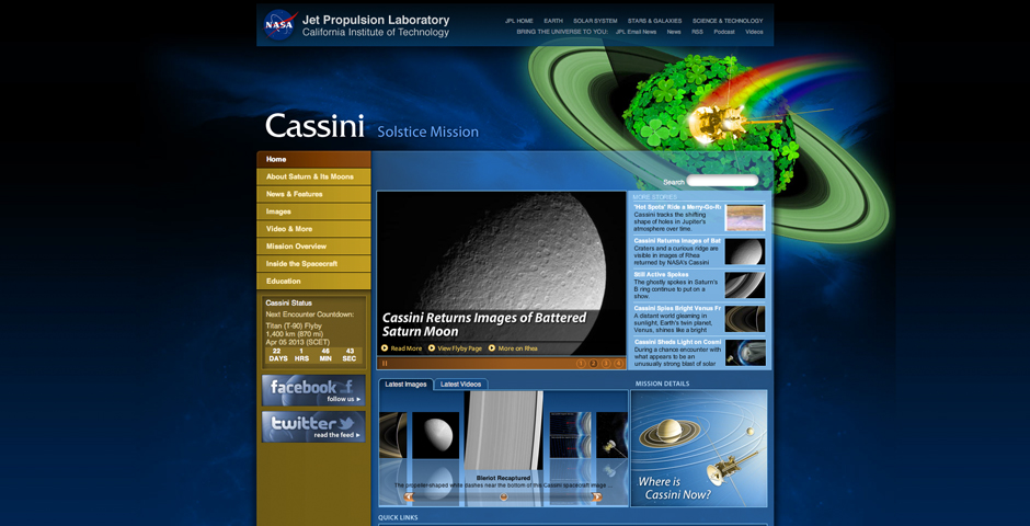 Webby Award Winner - Cassini Mission Website