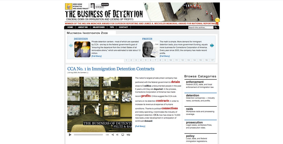 Webby Award Nominee - Business of Detention