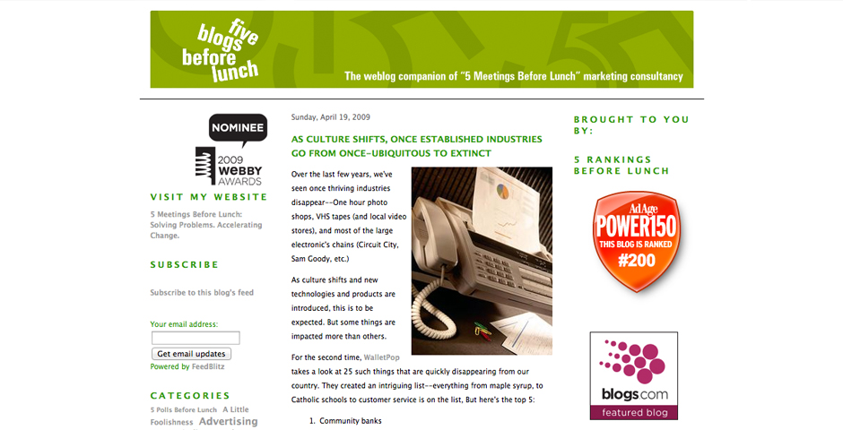 Webby Award Winner - 5 Blogs Before Lunch