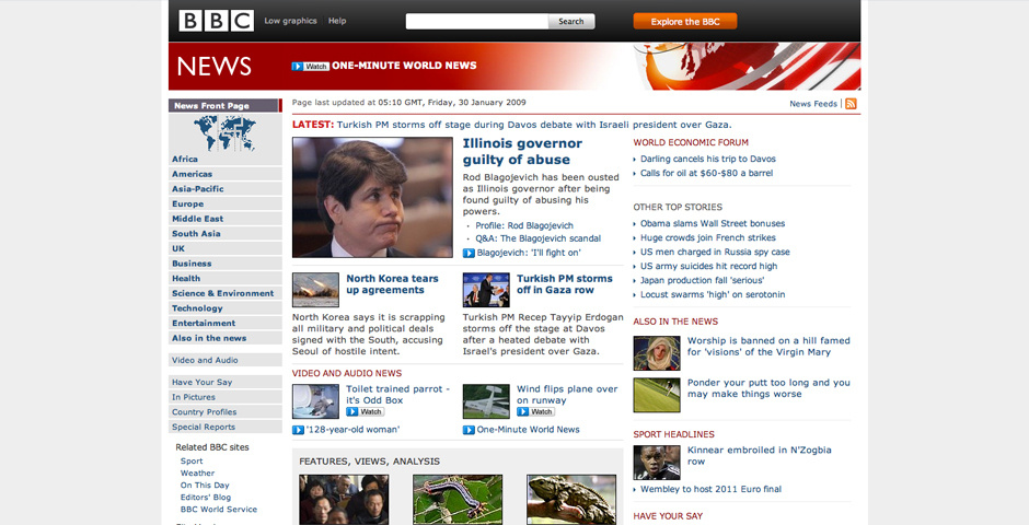 2009 Webby Winner - BBC\'s News website