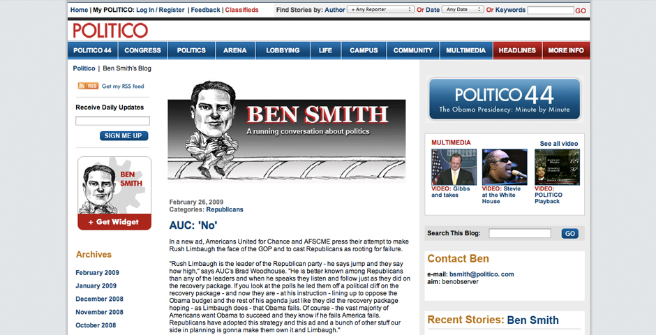 Nominee - Politico – Ben Smith