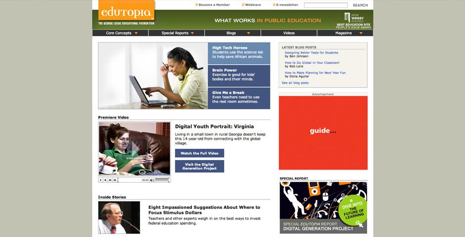 2009 Webby Winner - Edutopia.org