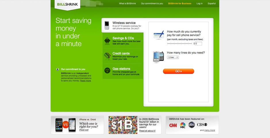 Webby Award Nominee - BillShrink.com - Best Financial Service Site