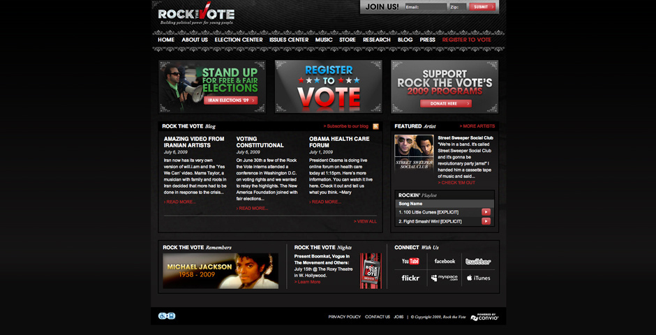 2009 Webby Winner - Rock the Vote