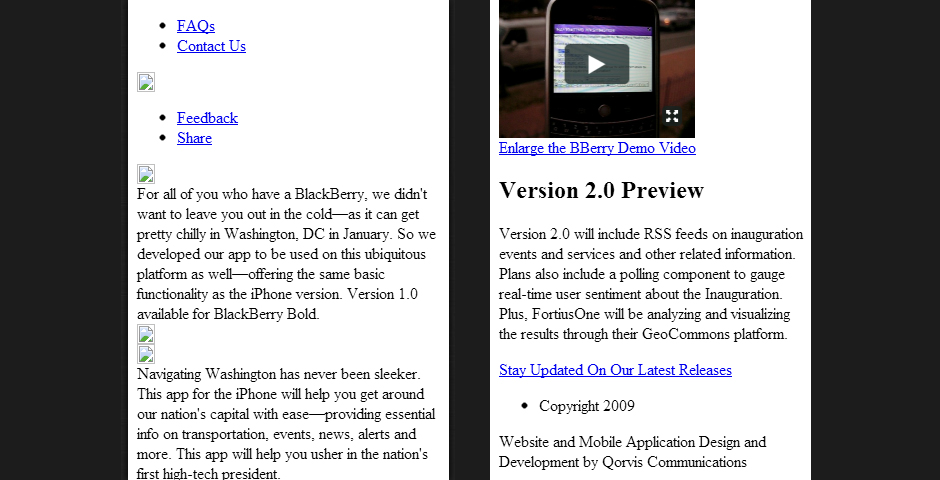 Webby Award Winner - Navigating Washington – iPhone Application