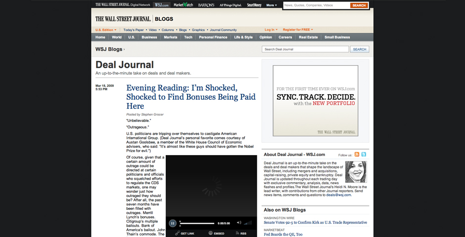 "Nominee - The Wall Street Journal Online ""Deal Journal"" Blog"