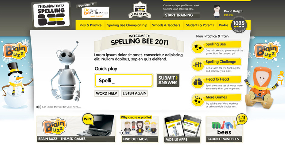 Webby Award Nominee - The Times Spelling Bee