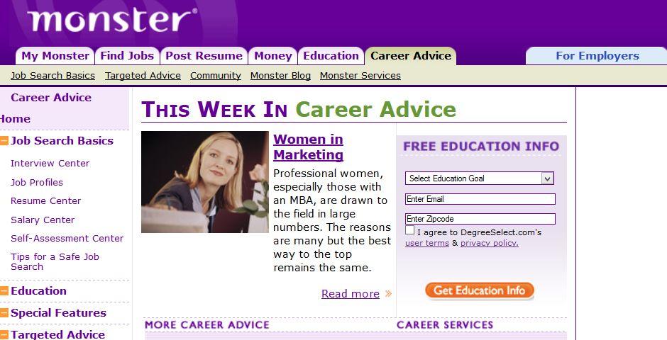 Webby Award Winner - Monster Career Advice