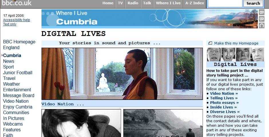 Webby Award Winner - BBC Cumbria website/Digital Lives