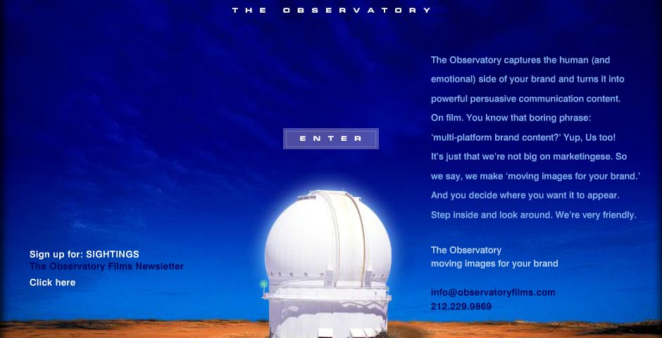 Webby Award Winner - The Observatory