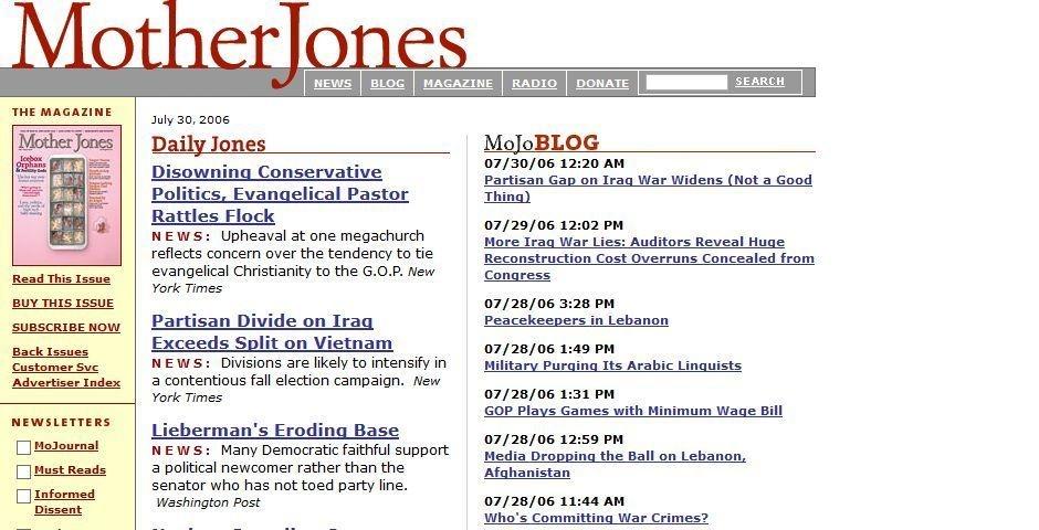 2006 Webby Winner - Mother Jones