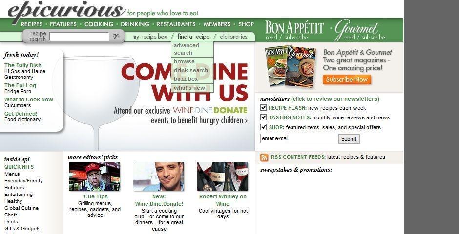 2006 Webby Winner - Epicurious.com