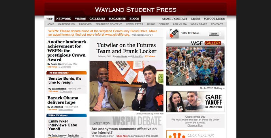2009 Webby Winner - Wayland Student Press Network