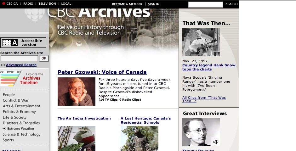 Nominee - CBC Digital Archives Website