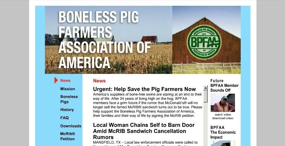 Webby Award Nominee - Boneless Pig Farmers Association Of America