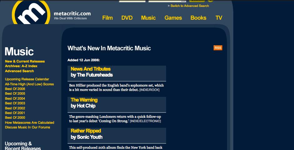 Webby Award Nominee - Metacritic.com